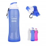 Logo Printed Folding Silicone Water Bottle With Carabiner