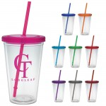 16 Oz. Carnival Cup w/Colored Straw & Colored Lid Custom Imprinted