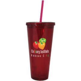 Custom Branded 24 Oz. Clear Tall Acrylic Double Wall Chiller Cup & Straw (4C Process)