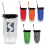 Logo Printed 15 Oz. Fun Cup Collection Tumbler w/Color Straw & Black Lid