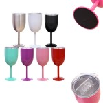 Custom Branded 10oz Double Wall Insulated Metal Goblet Wine Tumbler