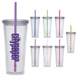 24 Oz. Carnival Cup w/Color Straw & Clear Lid Custom Imprinted