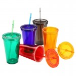 16Oz Acrylic Double Wall Drink Cup with Straw Custom Imprinted