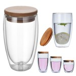 Custom Branded Double-wall Borosilicate Glass Cup With Bamboo Lid