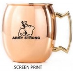 Logo Printed 14 Oz. Mirror Polished Copper Plated Stainless Steel Moscow Mule Mug w/ Gold Plated Handle