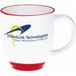 14 Oz. Ceramic Red Trimmed Heartland Bistro Mug Logo Printed