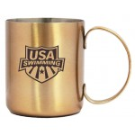 12 Oz. Stainless Steel Moscow Mule Mug w/ Built In D Handle, Copper Coated Custom Printed