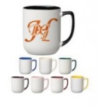 17 oz. Cobalt Blue In and Handle / White Out Arlen Mug Logo Printed