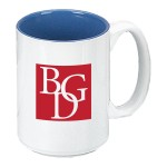 Logo Printed 15 oz. Ocean Blue In / White Out Two Tone El Grande Mug