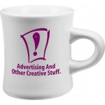 Logo Printed 10 Oz. White Ceramic Diner Mug