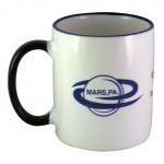 Custom Imprinted 11 oz. White In / Cobalt Blue Trim and Handle C Handle Mug