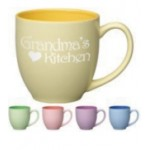 Logo Printed 16 oz. Yellow In / Matte Yellow Out Pastel Two Tone Bistro Mug