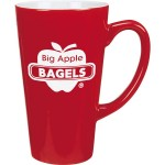 16 Oz. Ceramic Red Cafe Mug w/White Interior Custom Printed