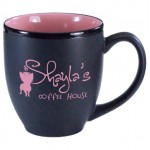 16 oz. Pink In / Matte Black Out Hilo Bistro Mug Custom Imprinted
