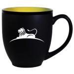 Hilo Bistro Two-Tone Matte Mug: Yellow (16 Oz.) Logo Printed