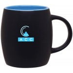 Custom Branded 14oz Joe Mug (Matte Black & Sky Blue)