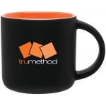 Custom Imprinted 14oz Minolo Mug (Matte Black & Orange)