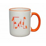 Custom Imprinted 11 oz. White / Orange Trim and Handle C Mug