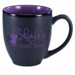 16 oz. Purple In / Matte Black Out Hilo Bistro Mug Logo Printed