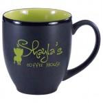 Custom Branded 16 oz. Lime Green In / Matte Black Out Hilo Bistro Mug