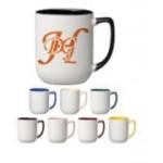 Custom Imprinted 17 oz. Burgundy In and Handle / White Out Arlen Mug