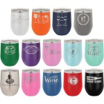 Custom Printed 12 oz Polar Camel Stemless Wine Glass w/Lid Stainless Steel Laser Engraved