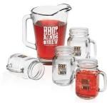 Logo Branded Glass Pitcher & Handled Jar Set