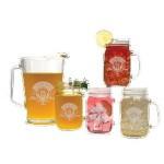 Logo Branded Glass Pitcher & Handled Jar Set - Etched