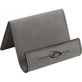Custom Printed Custom Laser Engraved Leatherette Holder-Gray/Engraves Black