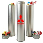 Custom Imprinted 8 Inch Tall Tin Tight Canister Container w/ Jelly Beans