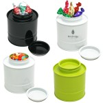 Custom Imprinted Asian Style Round Tin Canister Box w/ Hard Candy