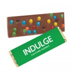 Foil Wrapped Belgian Chocolate Bar w/ M&M Topping Logo Printed