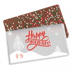 Foil Wrapped Belgian Chocolate Bar w/ Holiday Nonpareil Sprinkles Custom Branded