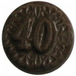 0.24 Oz. Chocolate 40th Anniversary Round Decorated Custom Imprinted