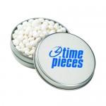 Logo Branded Medium Round Tin - White Mints