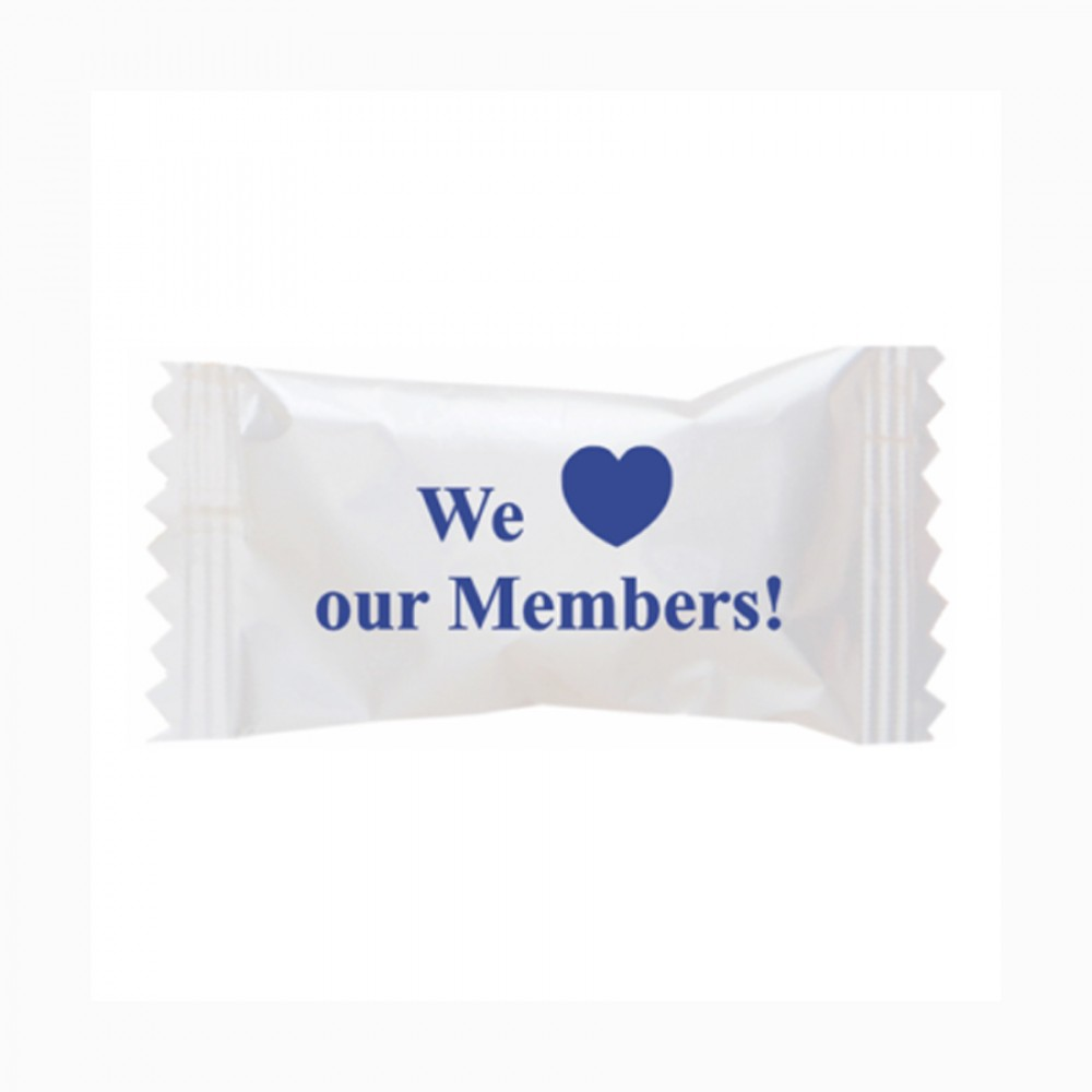 Custom Imprinted Pink Buttermints Cool Creamy Mint in a We Love Our Members Wrapper