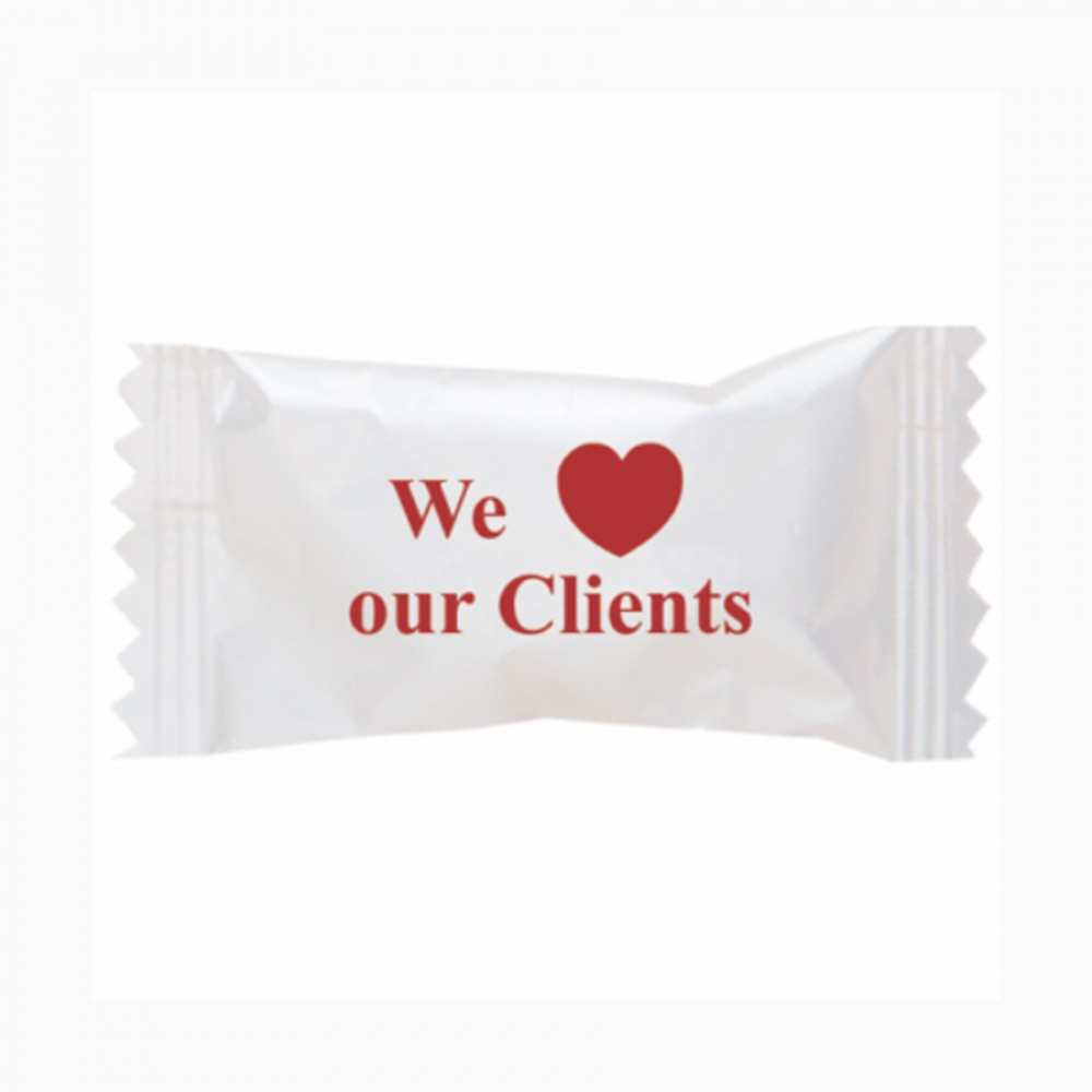 Logo Branded Hard Cinnamon Balls in a We Love Our Clients Wrapper