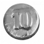 0.16 Oz. Chocolate 10 Year Round Logo Branded