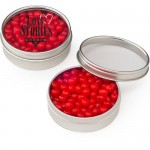 Round Window Tin Red Hots Logo Branded