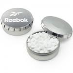 Custom Imprinted Mini Push Top Tin - Sugar Free Printed Peppermints