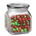 Contemporary Glass Jar - Holiday M&M's (20 Oz.) Custom Imprinted