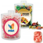 Acrylic Snack Jar Container Filled w/ Wrapped Starlight Mint Custom Printed
