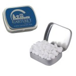 Custom Imprinted Small Silver Mint Tin Filled w/ Sugar Free Peppermints