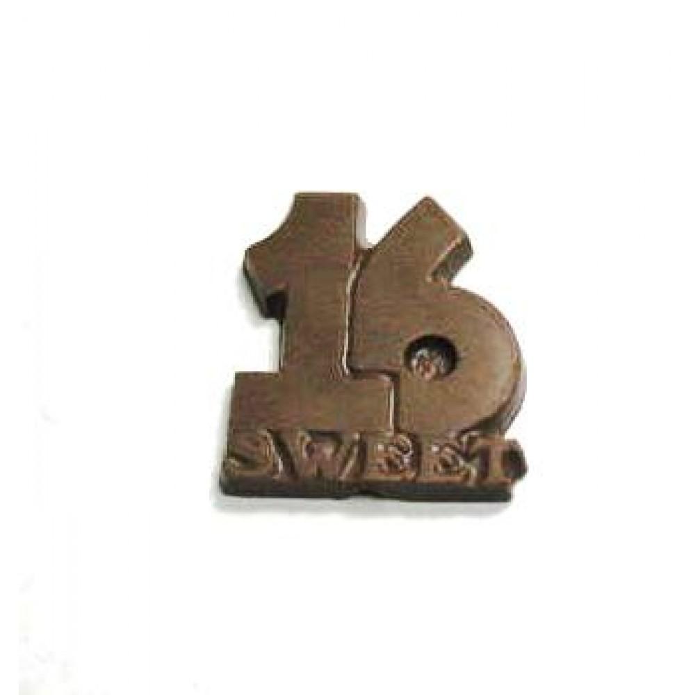 0.80 Oz. Chocolate Sweet 16 Large Logo Branded