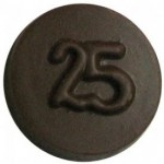 0.32 Oz. Chocolate 25th Anniversary Round Plain Logo Branded