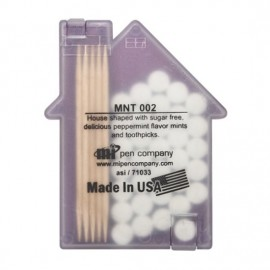House shaped Mints/Toothpicks - Translucent Purple Custom Imprinted
