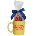 Logo Branded Ceramic Mug With Corporate Color Chocolates
