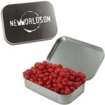 Custom Imprinted Large Silver Mint Tin w/ Cinnamon Red Hots