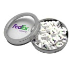 Logo Branded Silver Short Round Tin with Printed Mints