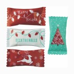 Assorted Pastel Chocolate Mints in a Christmas Assortment Wrapper Custom Imprinted